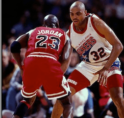 Jordan and Barkley duel in Philadelphia during the 1991-92 season.