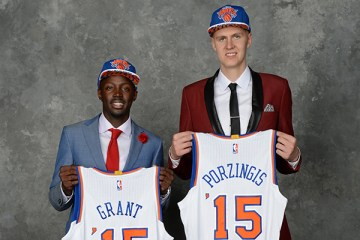 BROOKLYN, NY - JUNE 25:  Kristaps Porzingis and Jerian Grant pose for a portrait after being drafted by the New York Knicks during the 2015 NBA Draft at the Barclays Center on June 25, 2015 in the Brooklyn borough of New York City. NOTE TO USER: User expressly acknowledges and agrees that, by downloading and/or using this photograph, user is consenting to the terms and conditions of the Getty Images License Agreement.  Mandatory Copyright Notice: Copyright 2015 NBAE (Photo by Jennifer Pottheiser/NBAE via Getty Images)