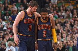 BOSTON, MA - APRIL 26:  Kevin Love #0 and Kyrie Irving #2 of the Cleveland Cavaliers talk in the game against the Boston Celtics during Game Four of the Eastern Conference Quarterfinals during the 2015 NBA Playoffs on April 26, 2015 at TD Garden in Boston, Massachusetts. NOTE TO USER: User expressly acknowledges and agrees that, by downloading and/or using this Photograph, user is consenting to the terms and conditions of the Getty Images License Agreement. Mandatory Copyright Notice: Copyright 2015 NBAE (Photo by Brian Babineau/NBAE via Getty Images)