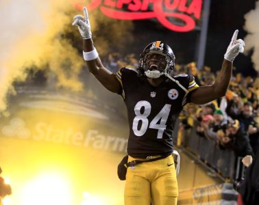 PITTSBURGH, PA - JANUARY 03:  Antonio Brown #84 of the Pittsburgh Steelers is introduced during the Wild Card game against the Baltimore Ravens on January 3, 2015 at Heinz Field in Pittsburgh, Pennsylvania.