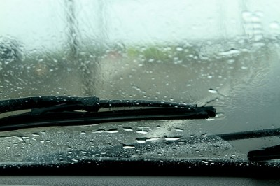 close up of windshield in heavy rain