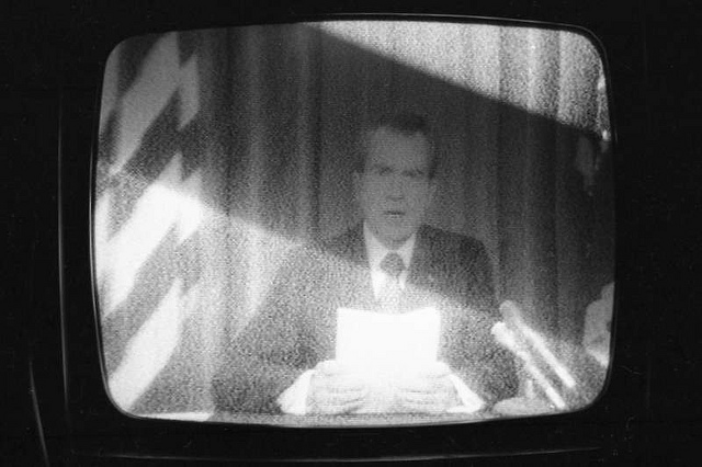 nixon on tv in 74 reading from paper