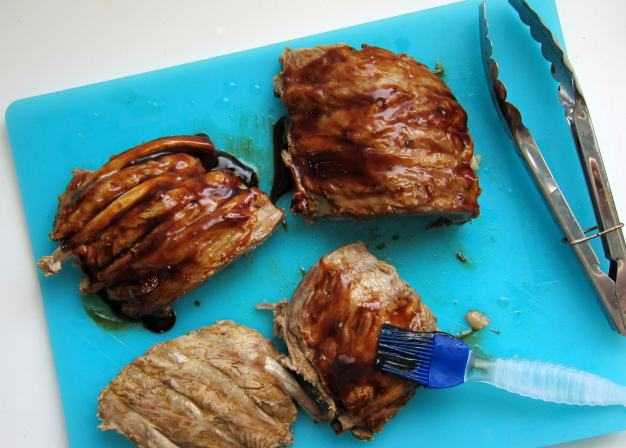 paint with fresh bbq sauce right before grilling