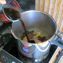 Mix-in soy sauce, sugar and beef stock.