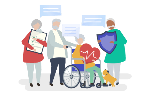 Graphic of older people asking questions