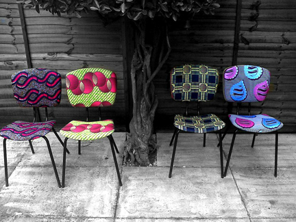 set of four vintage 1950s diner chairs recovered in vintage African fabric by Eclectic Chair