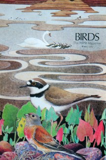 illustration of various birds from a vintage 1970s RSPB magazine