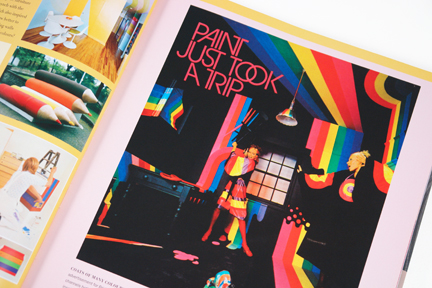 "page from the book, ""70s Style & Design"" showing groovy ""paint just took a trip"" illustration"