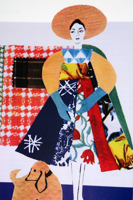"page from the book entitled ""1950s Fashion Prints"" by Marnie Fogg showing vintage 1950s female figure composed from various printed fabrics"