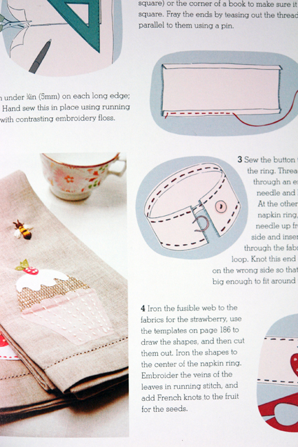 page from Homemade Home book showing handmade napkins