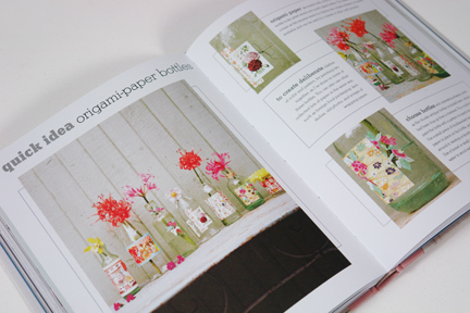page from Homemade Home book showing handmade origami flowers