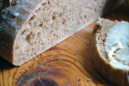 "close up view of beer bread from the ""How to Make Bread"" cookery book"