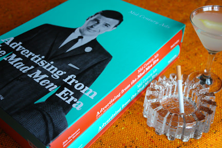"""Advertising from the Mad Man Era"" with martini and cigarette in a mid-century modern glass ashtray"