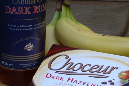 bananas, rum and hazelnut chocolate bar