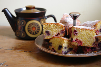 "lemon & polenta berry squares on a cake plate with vintage Denby ""Arabesque"" teapot"