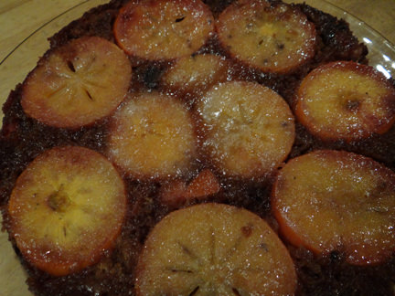 Persimmon & date upside-down cake