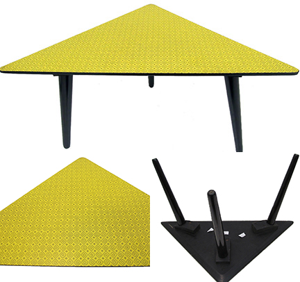 vintage 50s triangular table with yellow patterned top being sold on eBay for Charity by St Peter's Hospice
