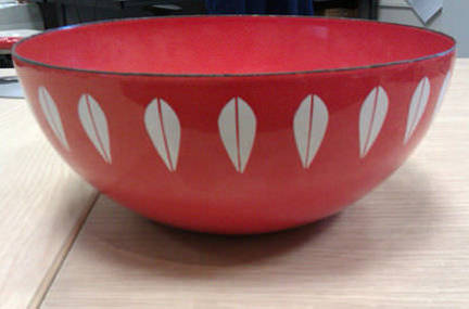 vintage orange &amp; white enamel Cathrineholm 'Lotus' bowl up for auction on eBay for Charity by Strut for Charity