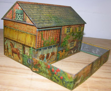 Vintage Huntley & Palmer farmyard biscuit tin for sale on eBay for Charity in support of The Iain Rennie Hospice at Home
