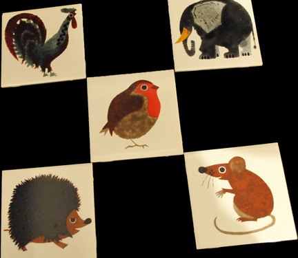 set of 5 vintage Kenneth Townsend tiles; cockerel, elephant, robin, hedgehog and mouse