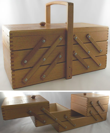 vintage wooden sewing box being sold by & on behalf of British Heart Foundation