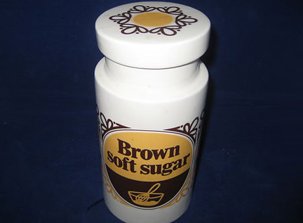 vintage brown soft sugar jar produced by Lord Nelson Pottery and being sold on eBay for Charity in support of Pembrokeshire Frame Ltd