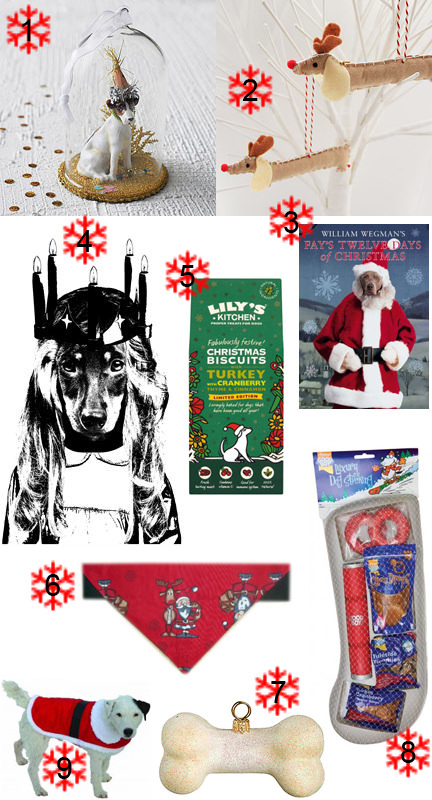 Selection of dog-related, canine Christmas items