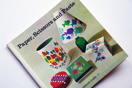 cover of a vintage craft booklet 'Paper, Scissors and Paste