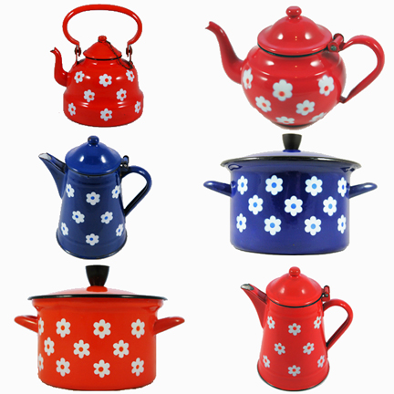 montage of vintage daisy patterned enamel pots and pans