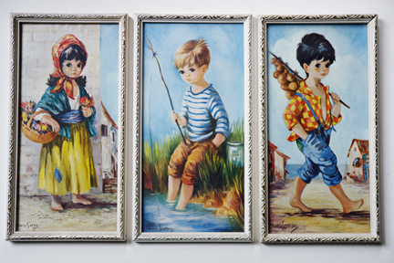 set of three vintage prints of &quot;Wide Eyed&quot; children by Dallas Simpson