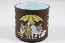 "detail from a vintage ""April"" mug produced by Hornsea Pottery showing sweethearts  on a park bench"