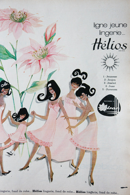 page from vintage French Elle magazine from November 1963 showing a colour ad for Helios lingerie