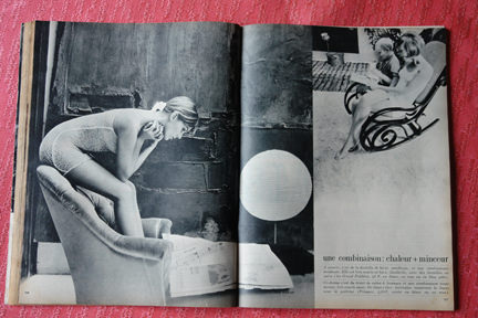 page from vintage French Elle magazine from November 1963 showing an article on lingerie