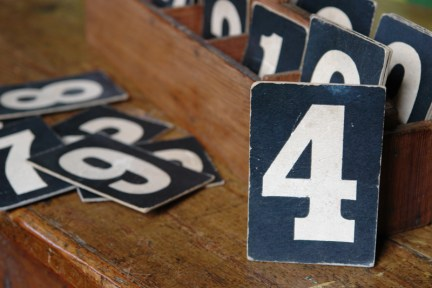 vintage church hymn numbers with wooden box