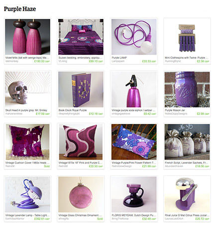 selection of purple homewares found on Etsy