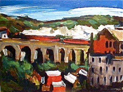 painting of a train on a viaduct by Olivia Pilling