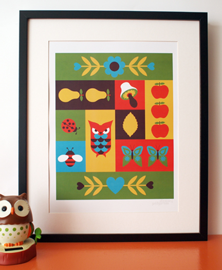 framed 'Nature Patchwork' illustration by Pilgrim Lee