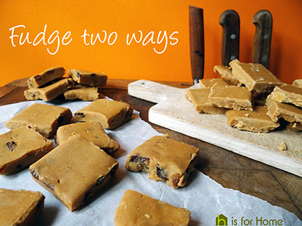 squares of plain fudge and rum & raisin fudge | H is for Home