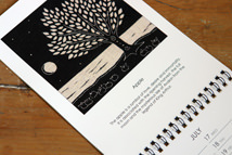 apple tree black &amp; white linocut illustration