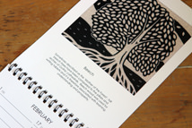 beech tree black &amp; white linocut illustration