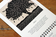 willow tree black & white linocut illustration