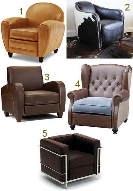 selection of 5 leather club chairs