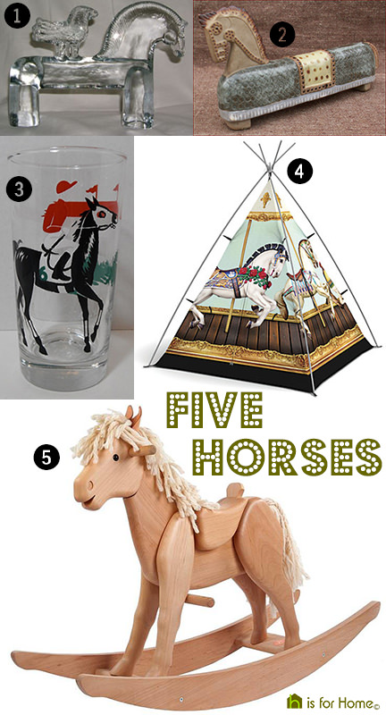 selection of 5 vintage horses-themed homewares