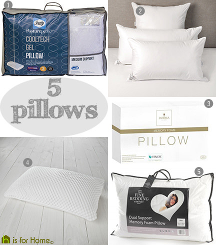 selection of 5 pillows