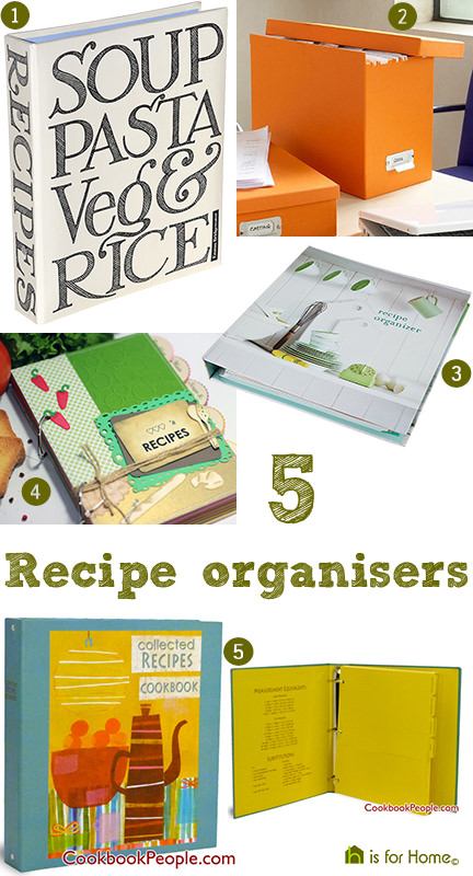 selection of 5 recipe organisers