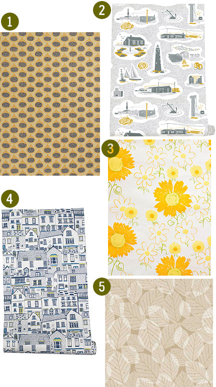 selection of 5 large patterned wallpapers