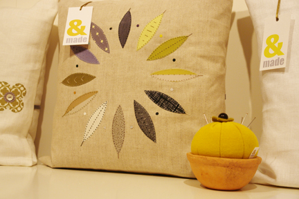 cushions and cacti-shaped pin cushion from &made who exhibited at Great Northern Contemporary Craft Fair 2010