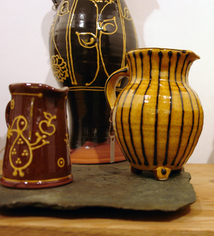 collection of slipware pottery by Hannah McAndrew who exhibited at Great Northern Contemporary Craft Fair 2010