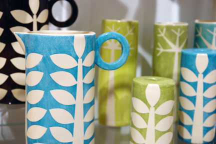 colourful handbuilt functional ceramics with hand cut stencil decoration by Ken Eardley who exhibited at Great Northern Contemporary Craft Fair 2010