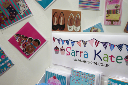 colourful  greeting cards made from original collages by Sarra Kate who exhibited at Great Northern Contemporary Craft Fair 2010
